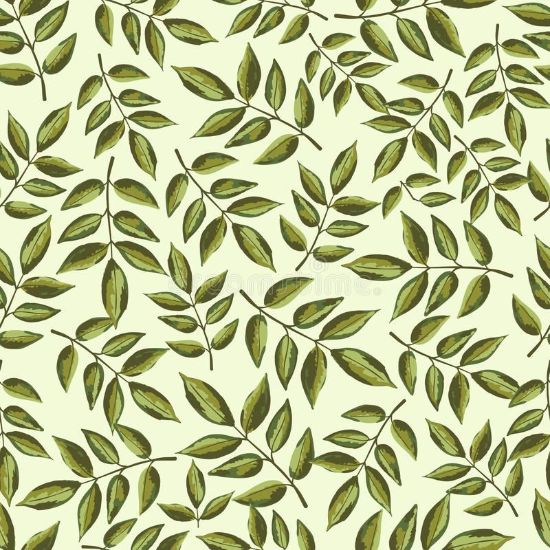 Seamless vintage pattern with painted leaves royalty free illustration