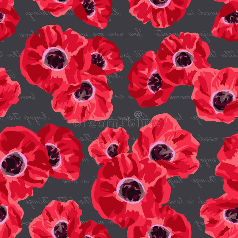 Seamless vintage pattern with poppies flower royalty free illustration