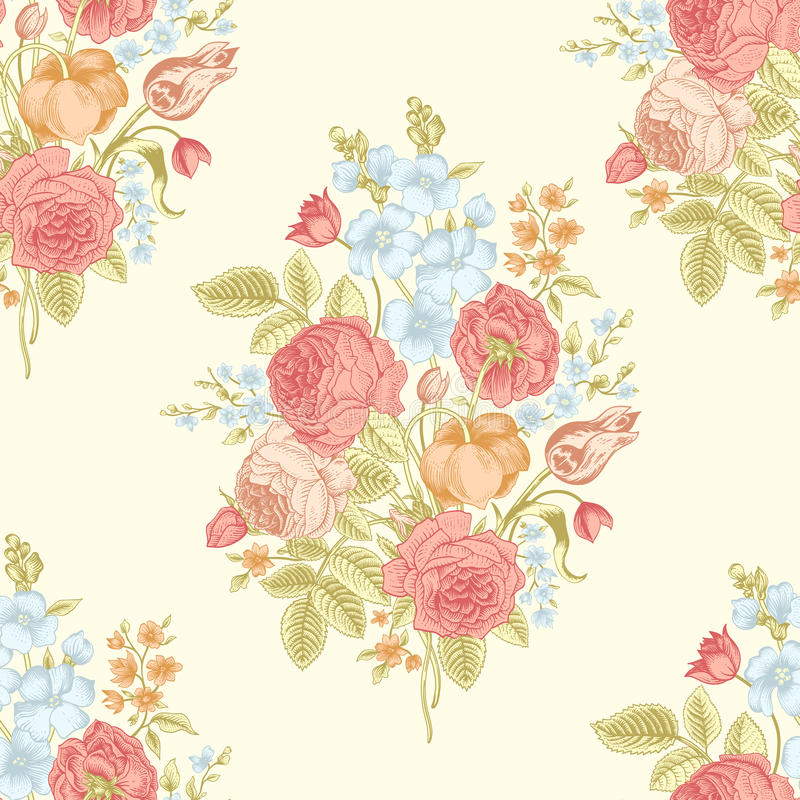 Seamless vintage pattern. With Victorian bouquet of colorful flowers on a yellow background. Coral red roses, tulips, blue delphinium vector illustration