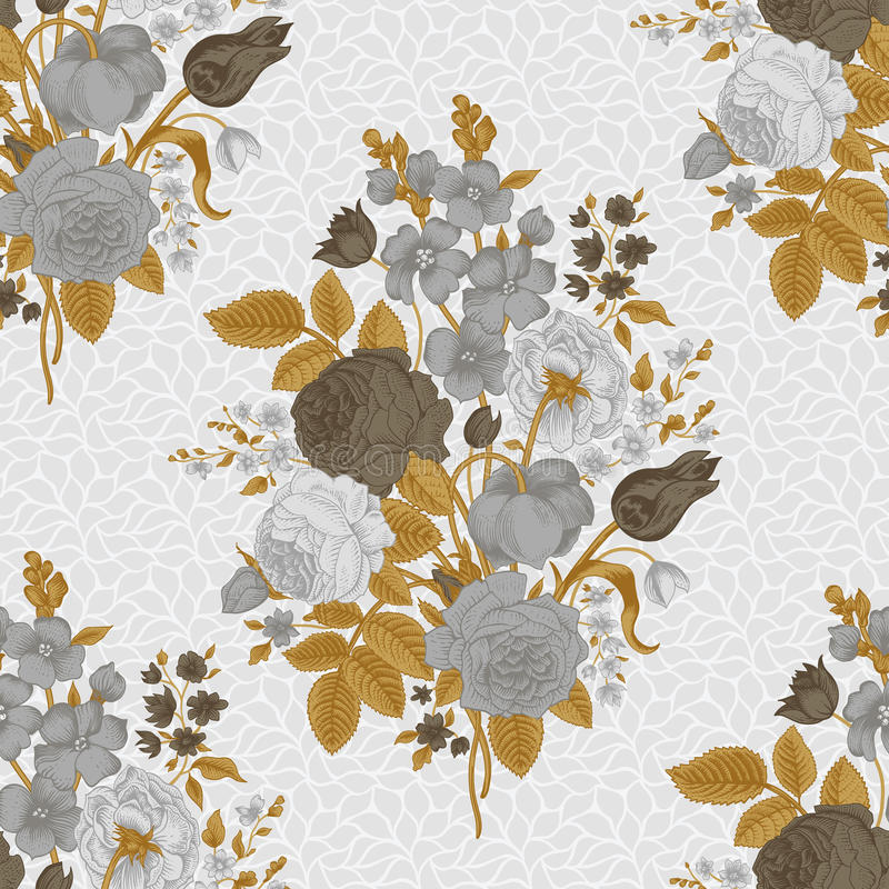 Seamless vintage pattern. With Victorian bouquet of gray flowers on a white background. Gray roses, tulips, delphinium with brown leaves stock illustration