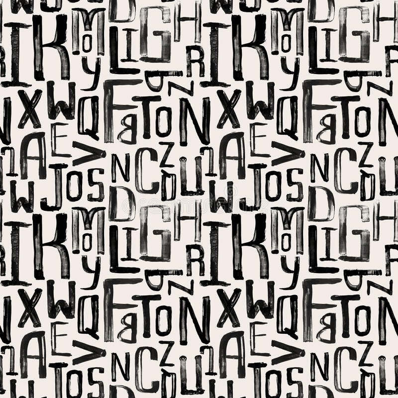 Seamless vintage style pattern, grunge letters of random stock illustration