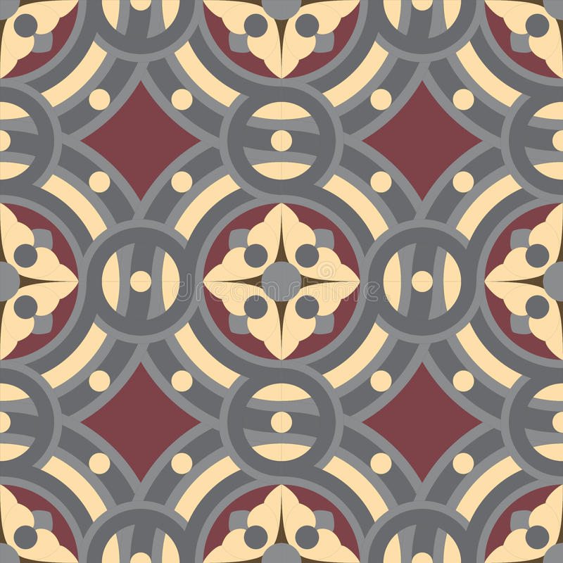 Seamless vintage tile background pattern in golden, gray, vinous colors. The main element of mosaic is abstract flower in circles royalty free illustration