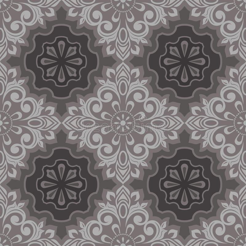 Seamless vintage wallpaper. Seamless vintage beige and brown floral wallpaper pattern vector illustration