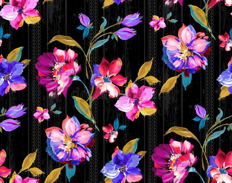 Seamless vintage watercolor floral design with leaves on black background for textile prints. Yellow flowers royalty free illustration