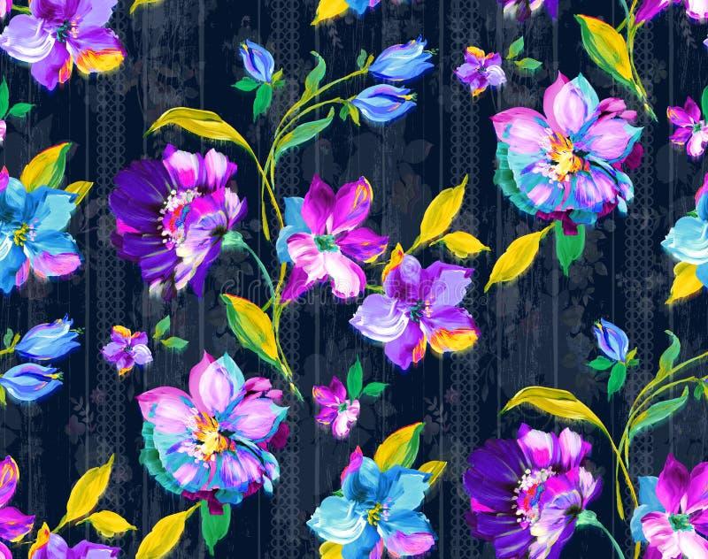 Seamless vintage watercolor floral design with leaves on black background for textile prints. Seamless vintage watercolor floral design with leaves on darkblue stock illustration