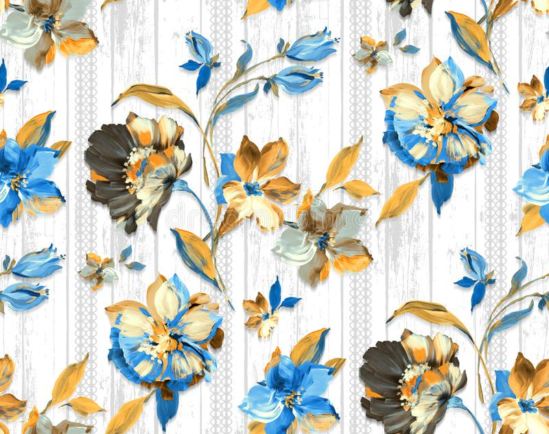 Seamless vintage watercolor floral design with leaves on white background for textile prints. Blue flowers vector illustration