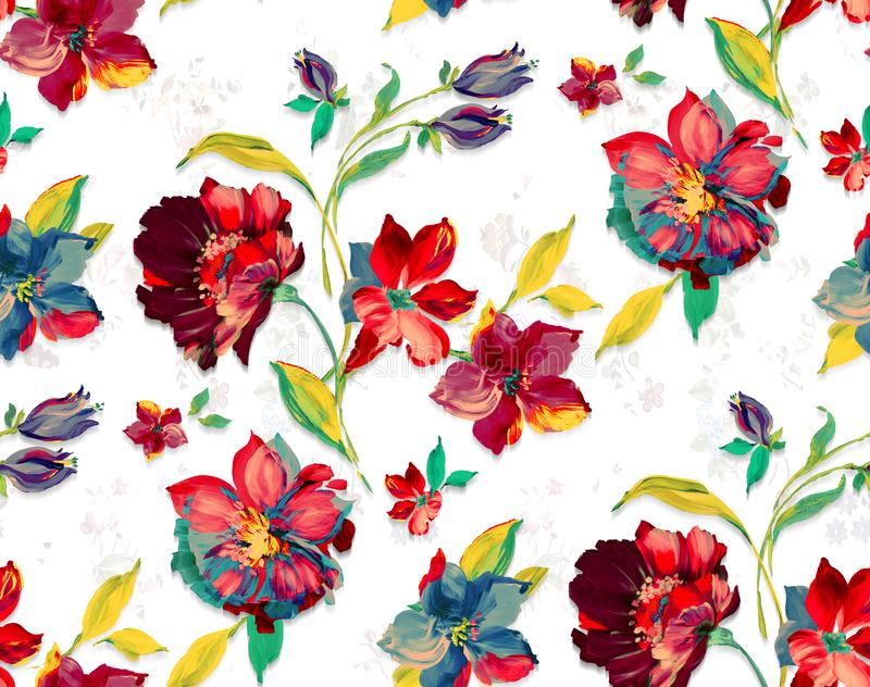 Seamless vintage watercolor floral design with leaves on white background for textile prints. Red flowers vector illustration