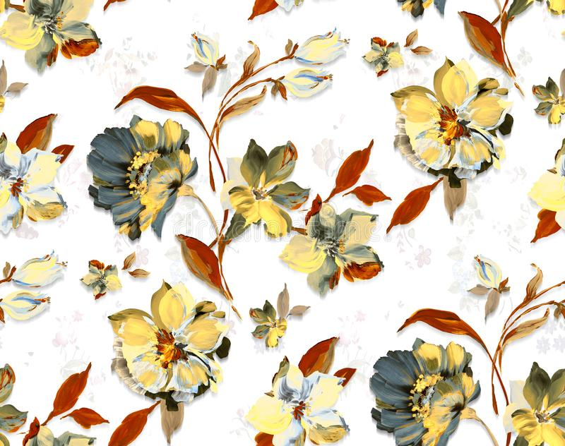 Seamless vintage watercolor floral design with leaves on white background for textile prints. Yellow flowers vector illustration