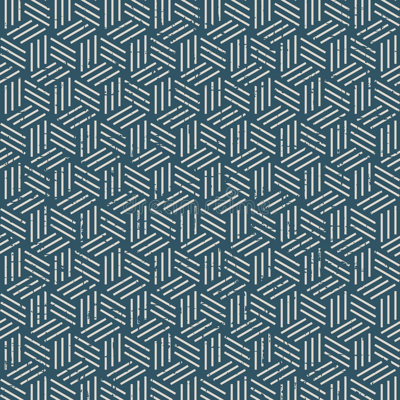 Seamless vintage worn out 3D line box pattern background. stock illustration