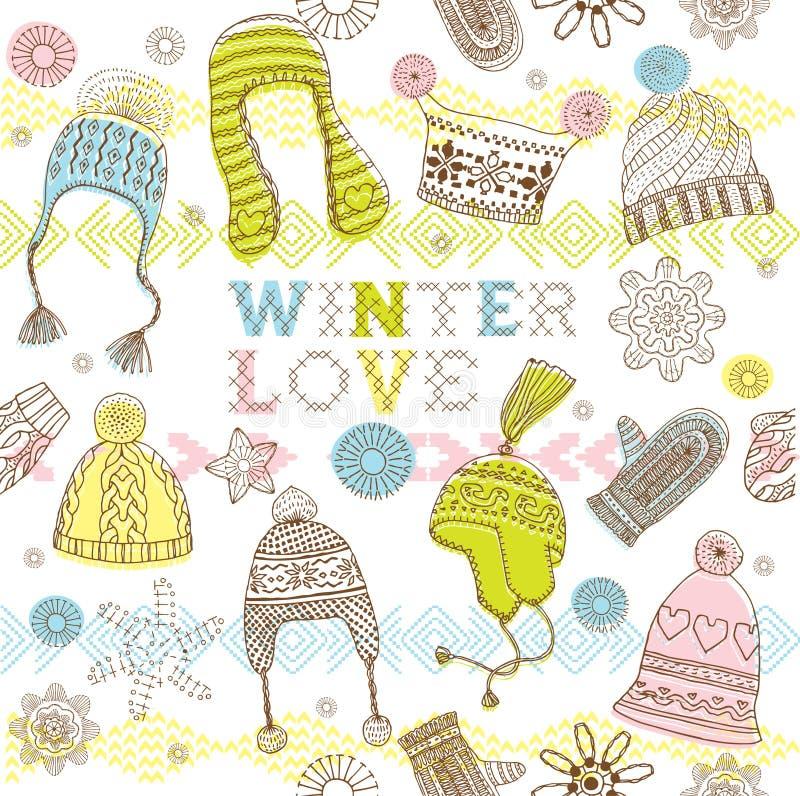seamless vinter för förälskelsemodell stock illustrationer