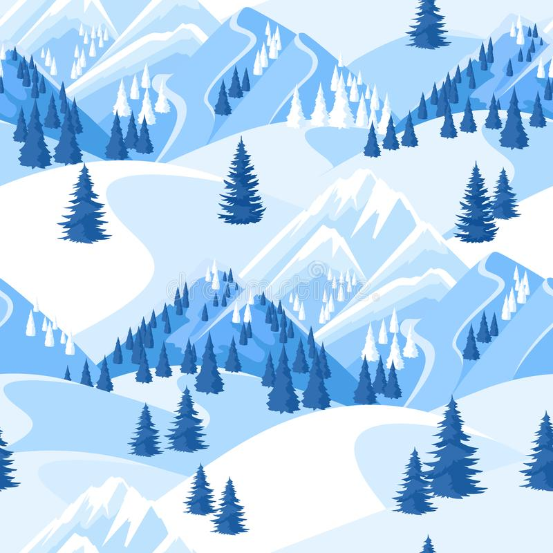 seamless vinter för modell Härligt landskap med snöig berg och granskogen stock illustrationer