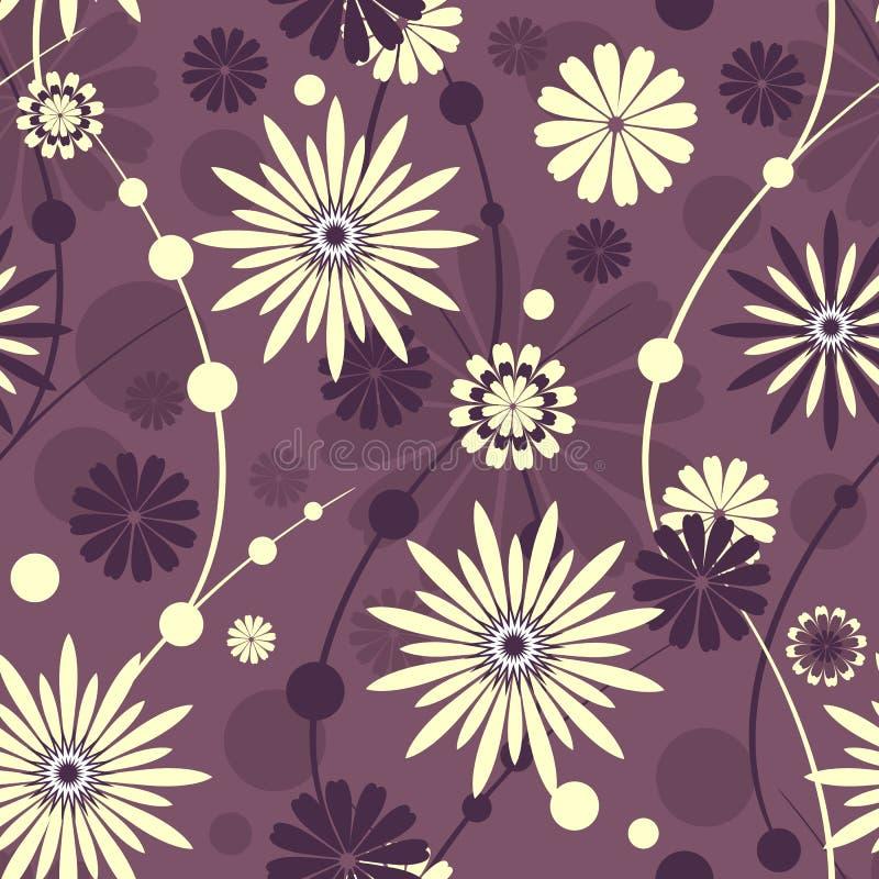 Seamless violet floral pattern stock illustration