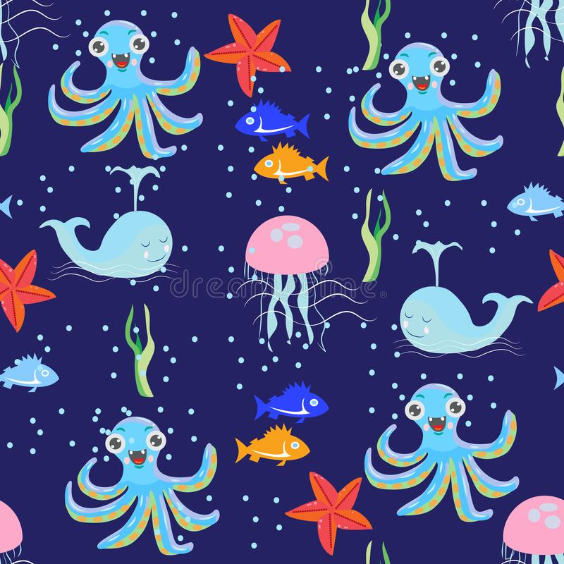 Seamless vivid picture of sea world with fish, octopus, jellyfish, starfish and seaweed vector illustration