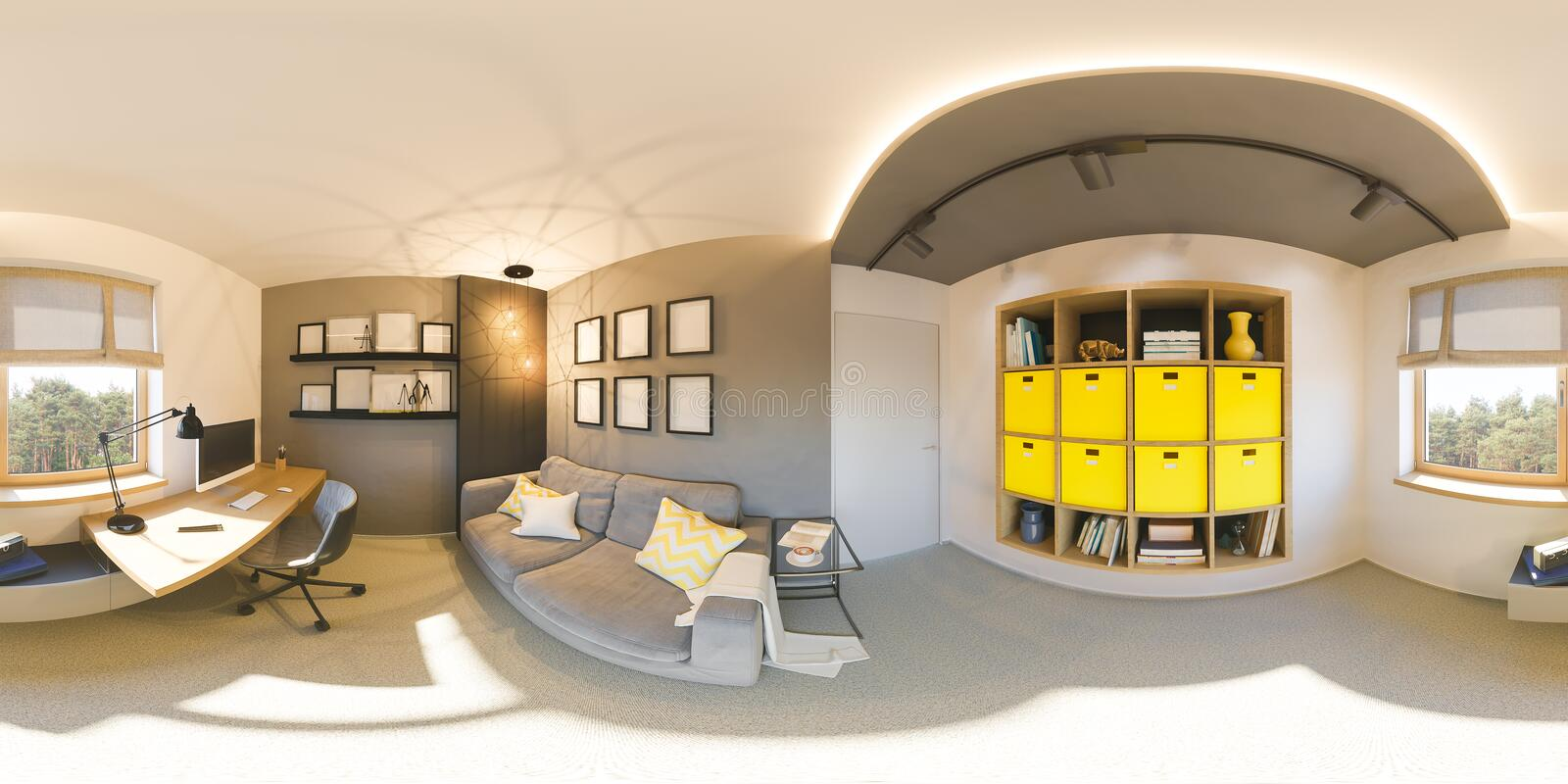 Seamless 360 vr home office panorama. 3d illustration of modern apartment interior design royalty free illustration