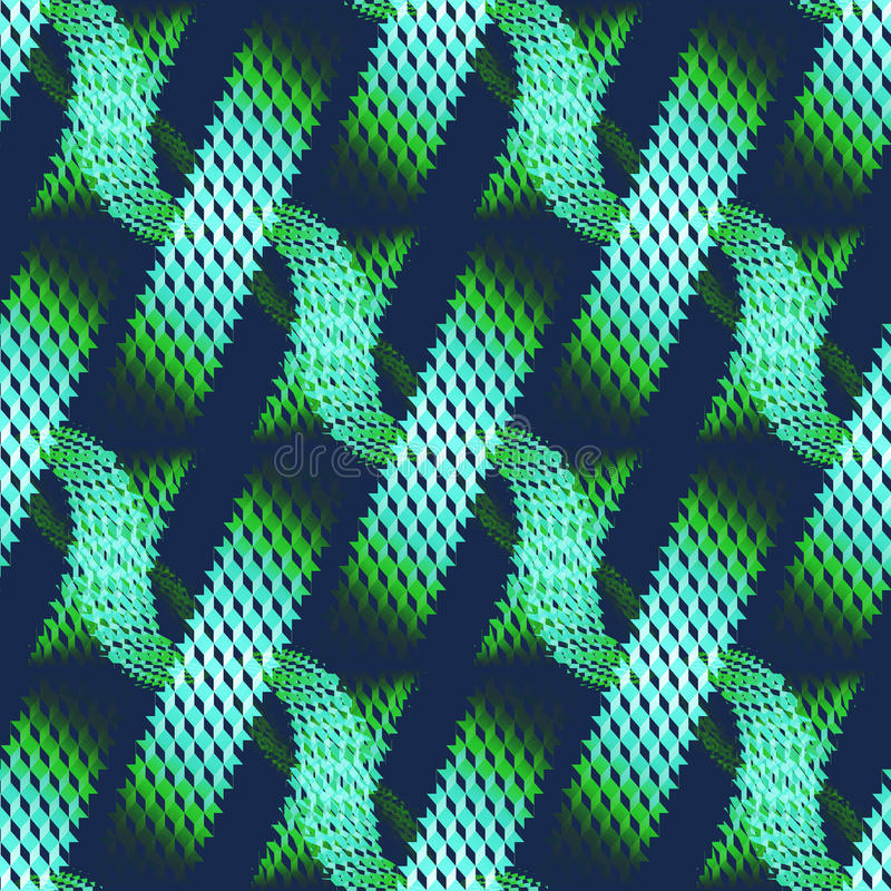 Seamless waffle-weave pattern green on dark blue in stripes diagonally. Abstract geometric seamless modern background, dimensional waffle-weave pattern. Regular vector illustration