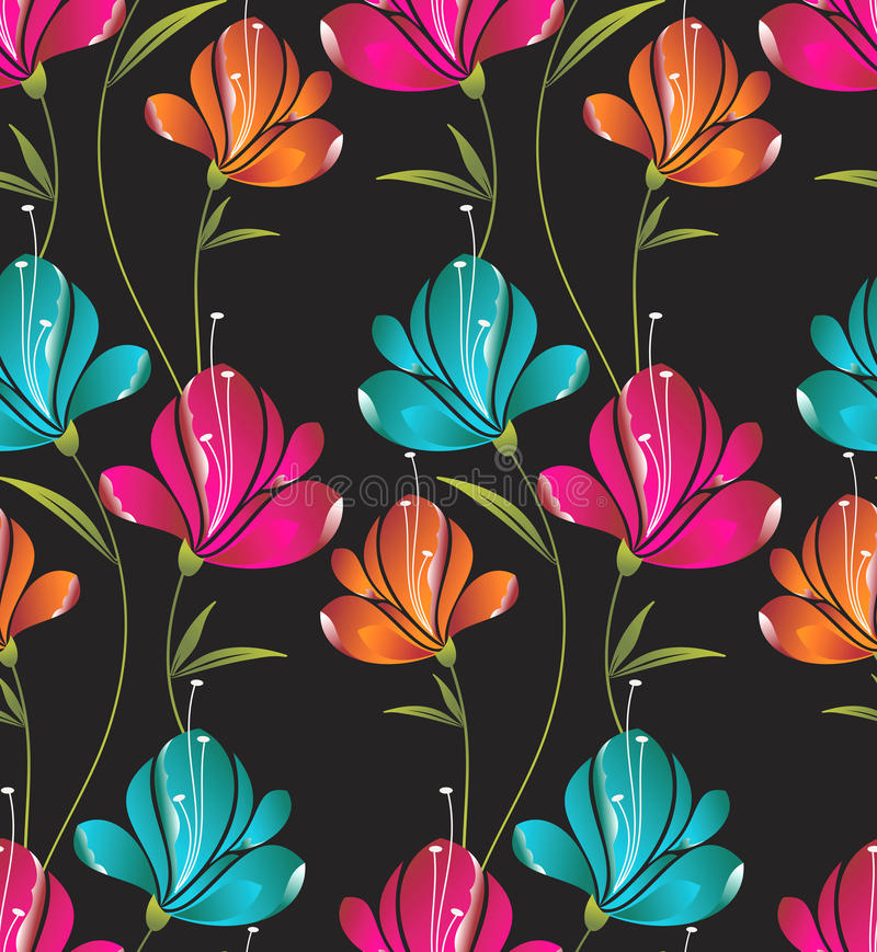 Seamless wallpaper av idérika blommor vektor illustrationer