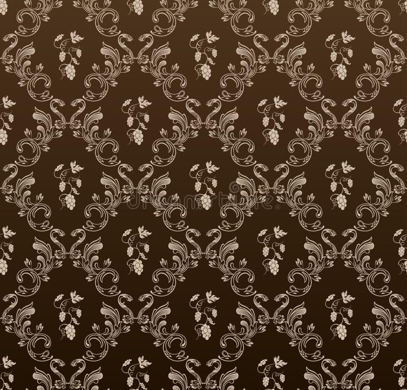 Seamless wallpaper background grapes black vintage