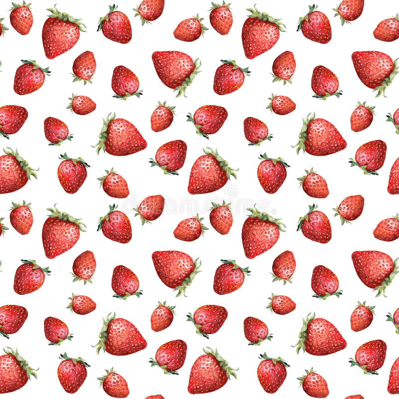 Seamless wallpaper - bright strawberry on white background. Watercolour. Seamless wallpaper with bright strawberry on white background. Watercolour stock images