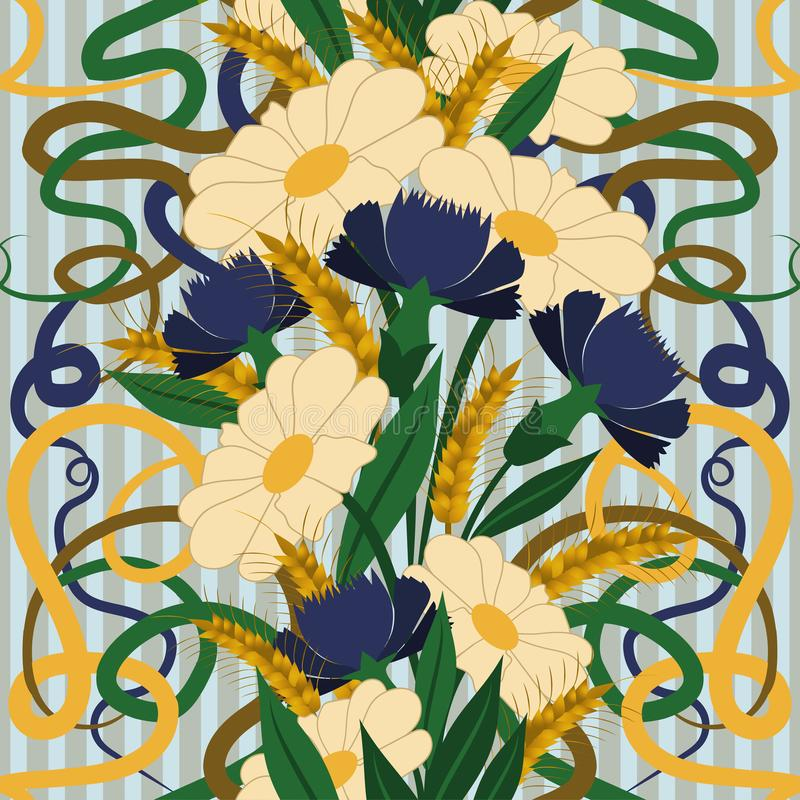 Seamless Wallpaper With Camomile And Cornflower In Art Nouveau Style ...