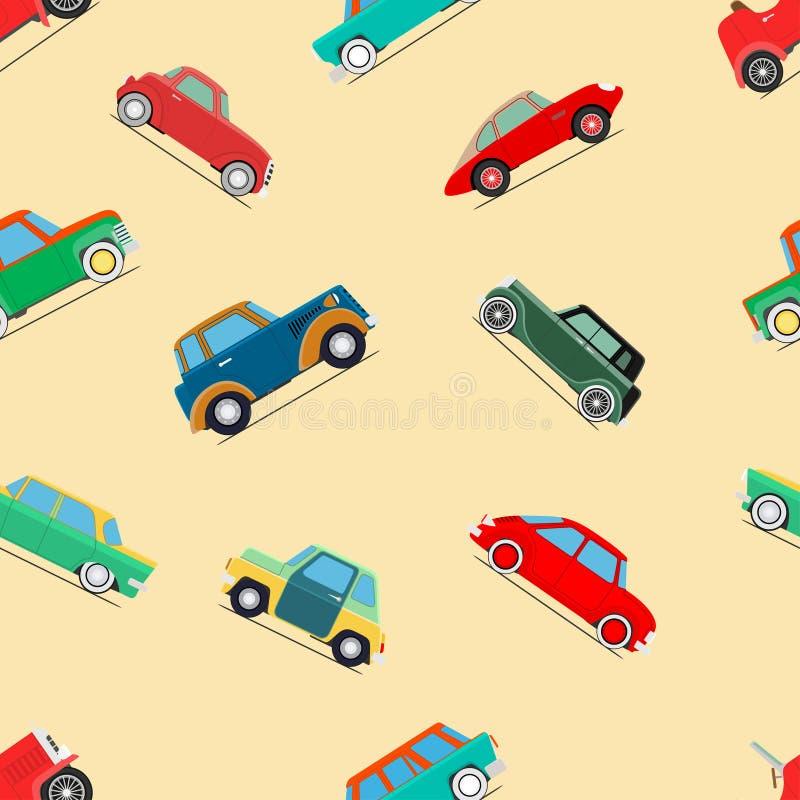 Seamless wallpaper of cars. Seamless wallpaper of set vintage cars. Vector illustration stock illustration