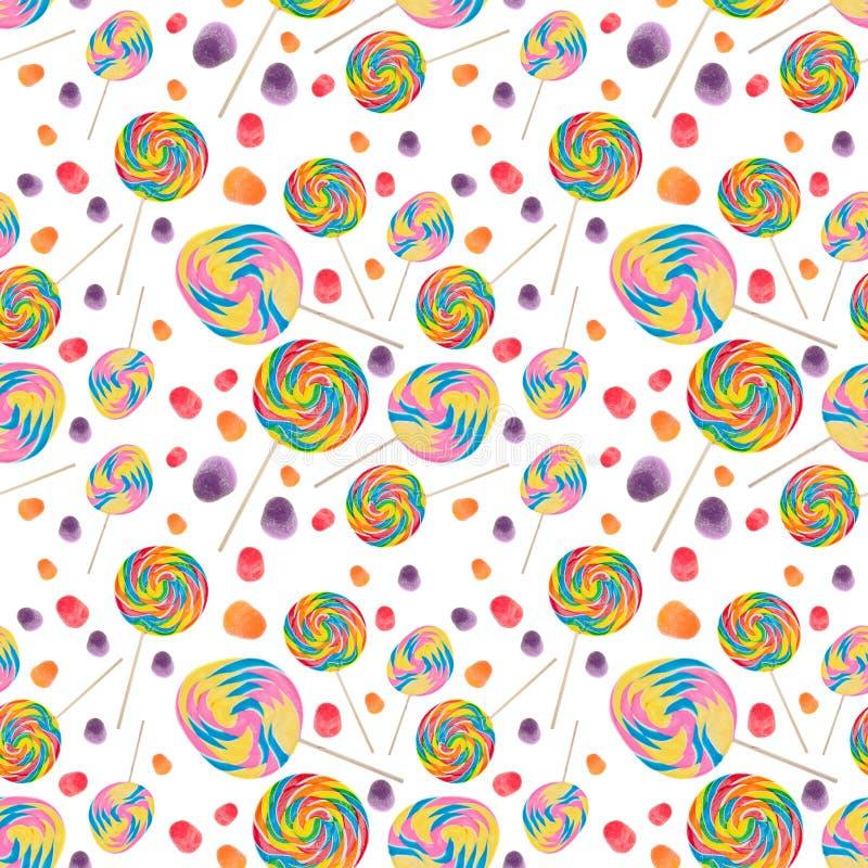 seamless wallpaper för bakgrundsgodis stock illustrationer