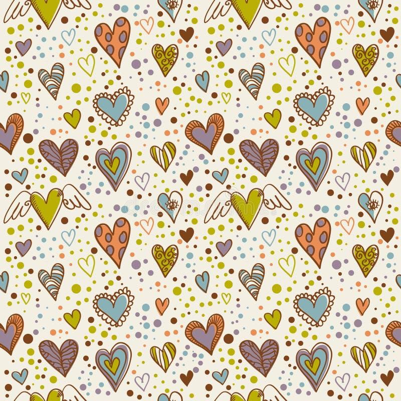 seamless wallpaper för gulliga klotterhjärtor royaltyfri illustrationer