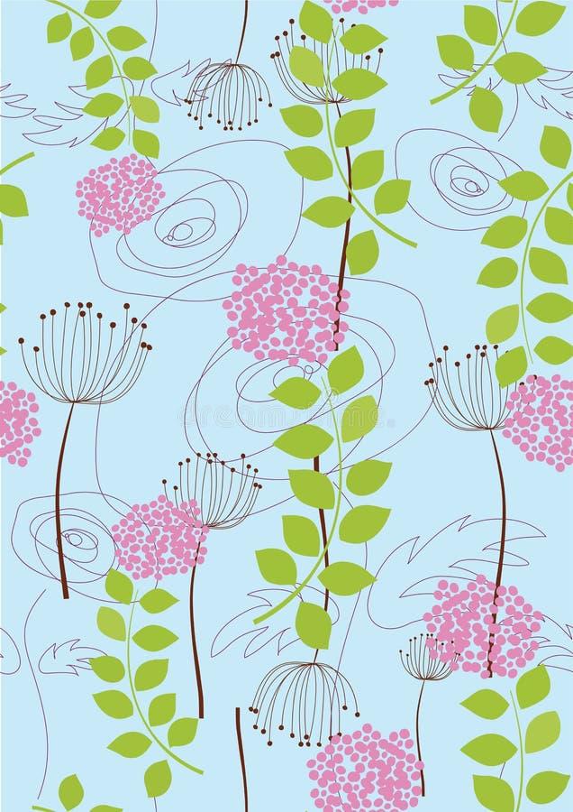 seamless wallpaper för maskrosrose royaltyfri illustrationer