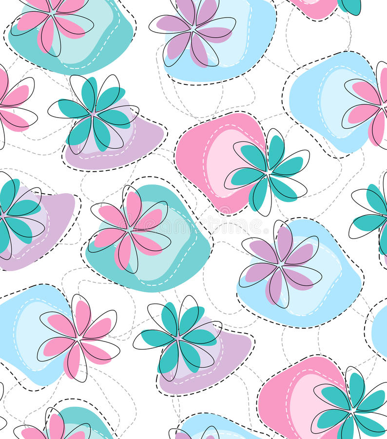 Seamless wallpaper för vektorinfallblomma vektor illustrationer