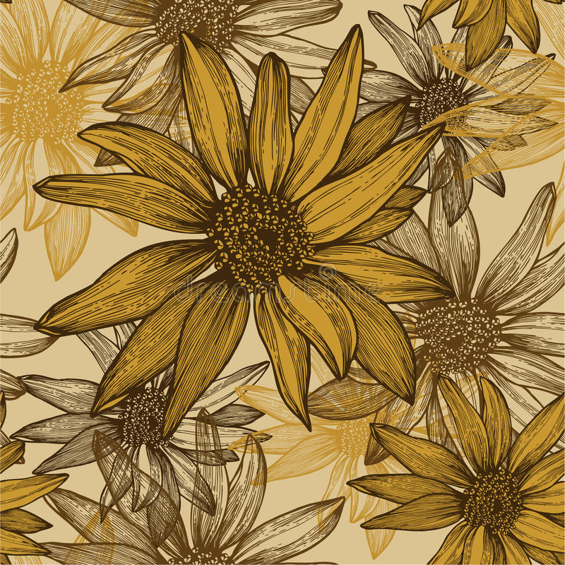 Download Seamless Wallpaper With Flowers, Sunflower Seeds, Stock Vector - Image: 26924563