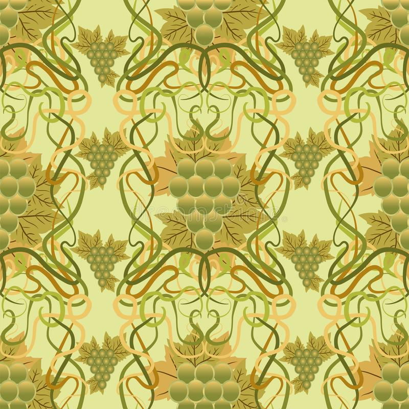 Seamless Wallpaper With Grape In Art Nouveau Style, Stock ...