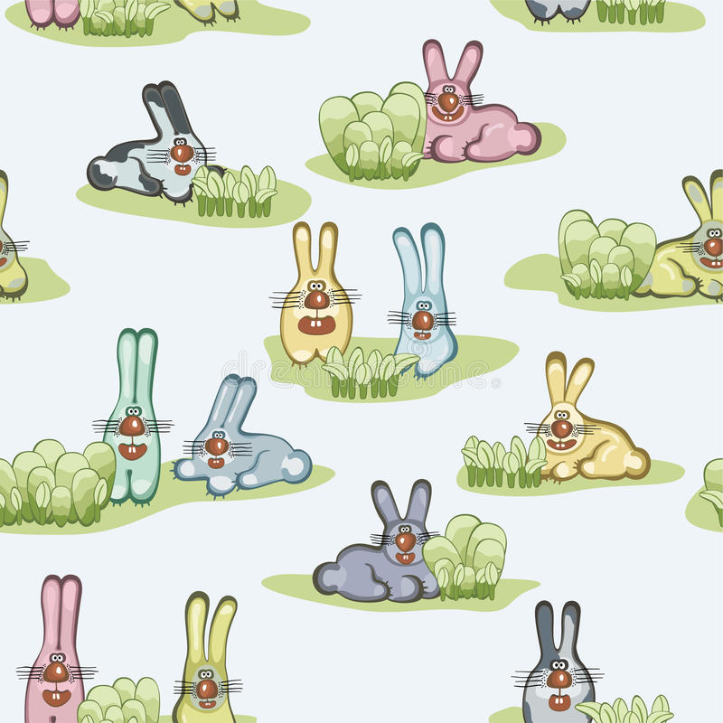 Seamless wallpaper with hares royalty free illustration
