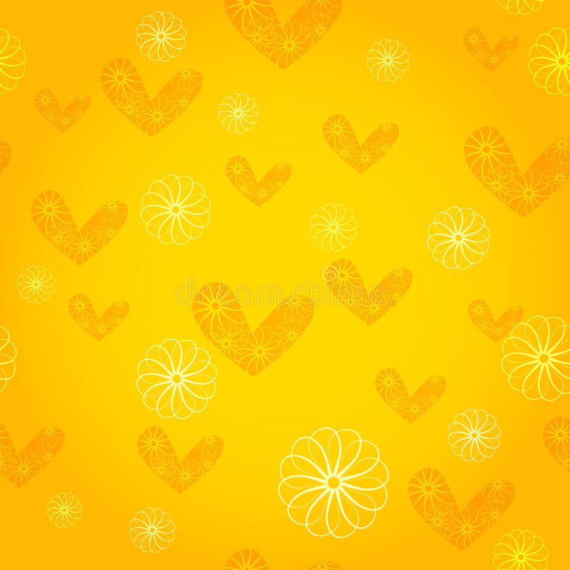 Seamless wallpaper with hearts and flowers stock illustration