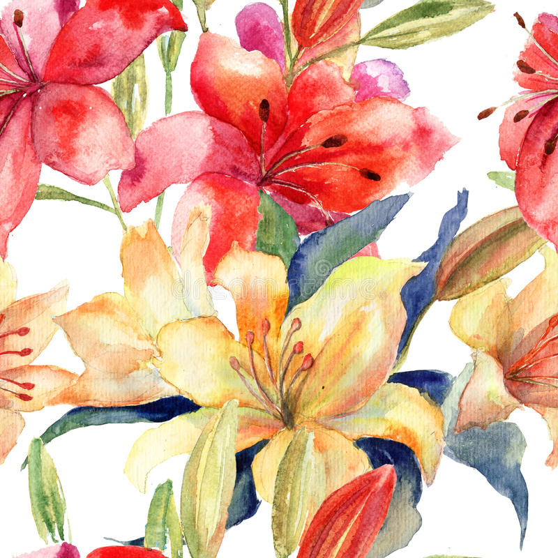 Download Seamless Wallpaper With Lily Flowers Stock Illustration - Image: 33934783