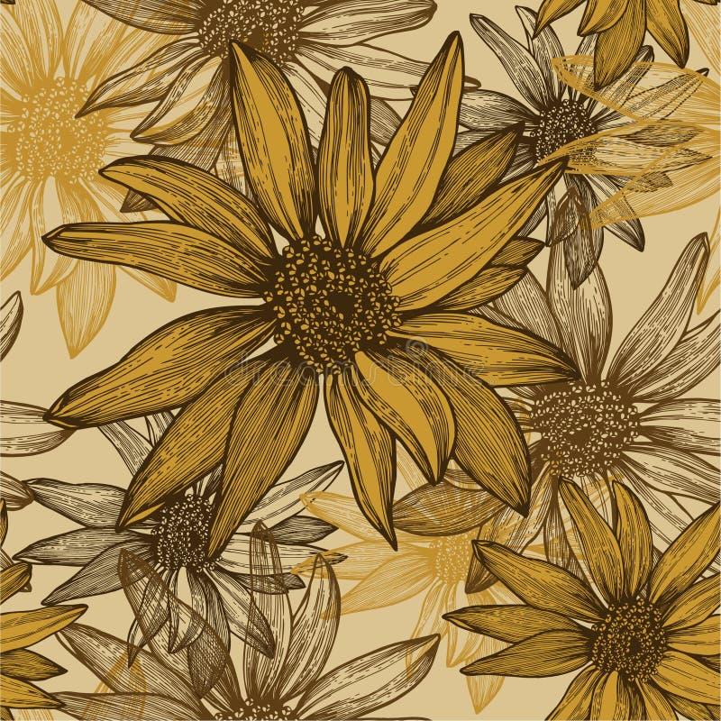 Seamless wallpaper med blommor, solrosfrö, stock illustrationer