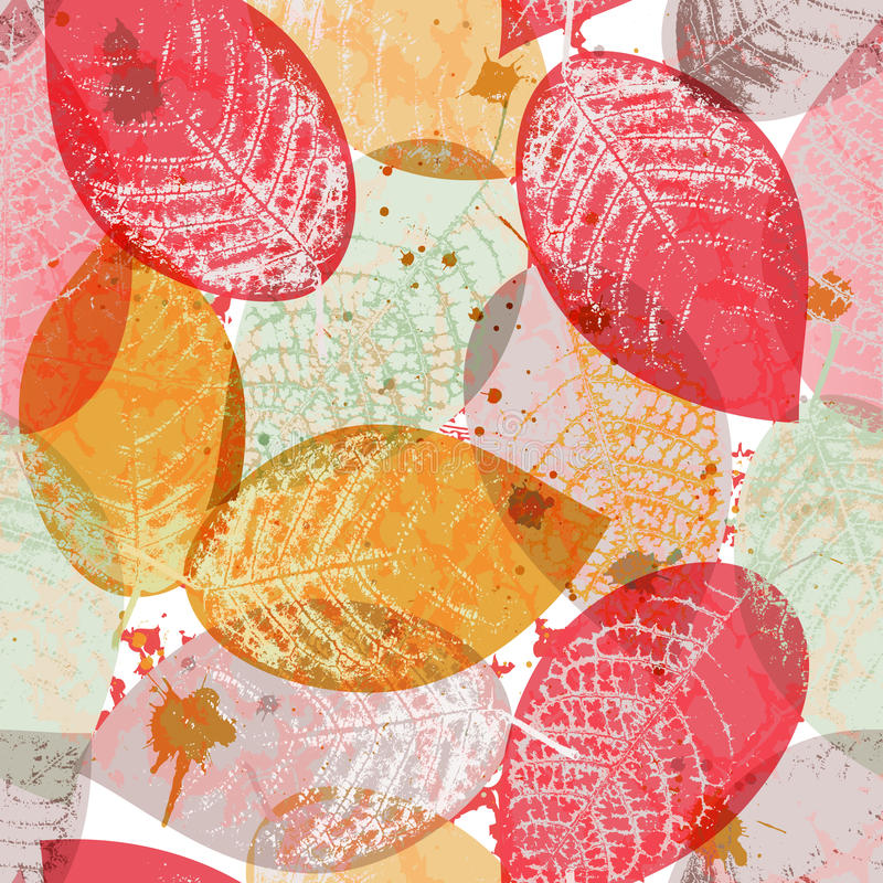 Seamless wallpaper med multicolor leaves vektor illustrationer