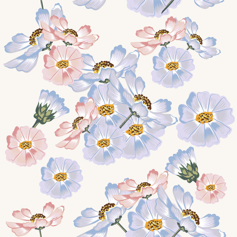 Seamless wallpaper pattern with blue and pink cosmos flowers royalty free illustration