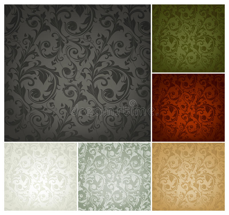 Seamless Wallpaper Pattern, set of six colors royalty free illustration