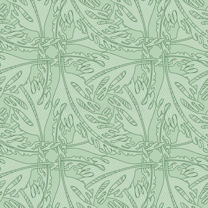 Seamless Wallpaper Pattern with Stylized Leaves royalty free illustration