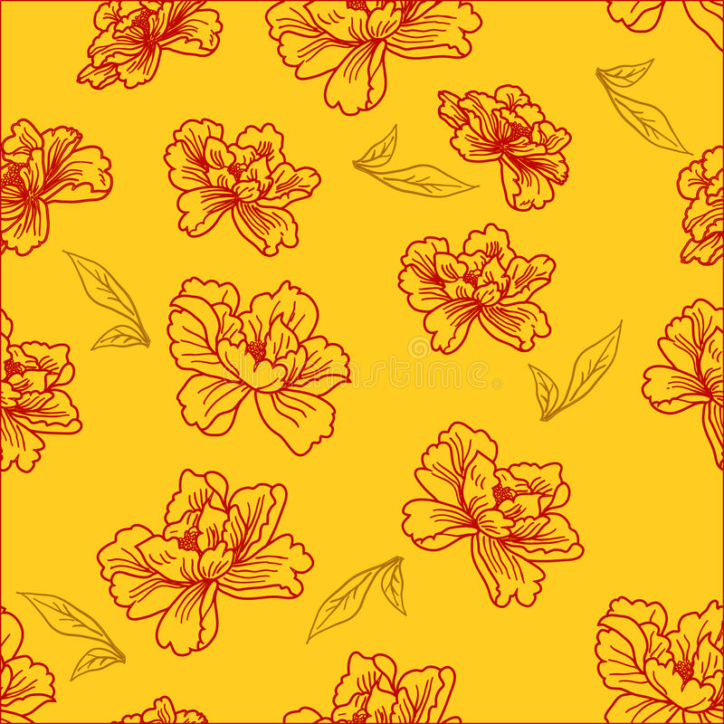 Download Seamless Wallpaper  A Seam With Flower And Leaves Stock Vector - Image: 17610952