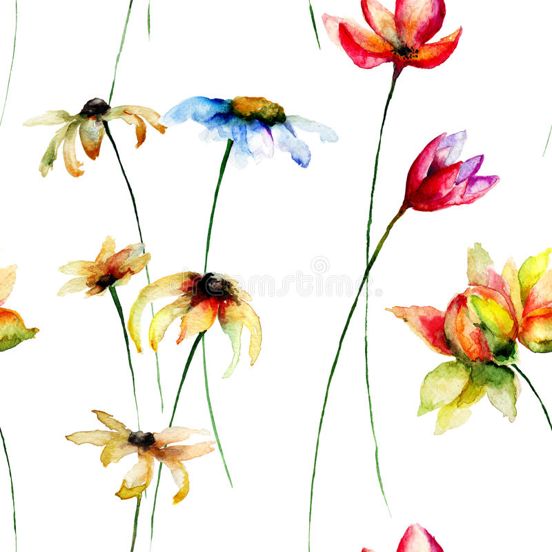 Seamless wallpaper with stylized flowers royalty free illustration