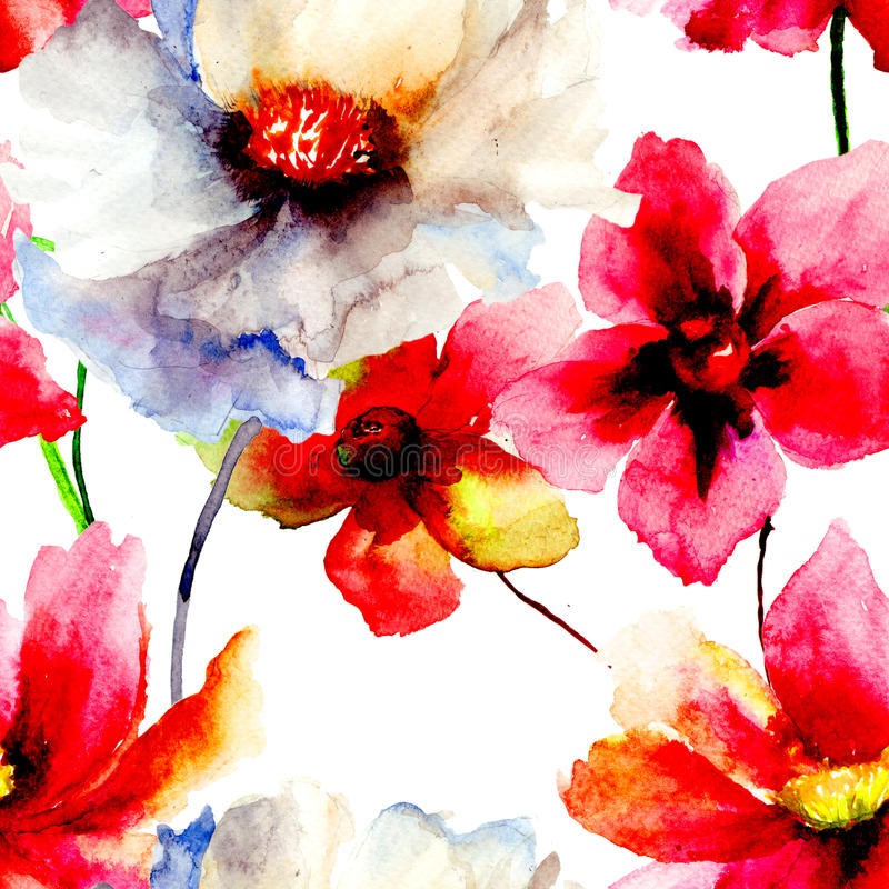 Download Seamless Wallpaper With Summer Flowers Stock Illustration - Image: 33934769