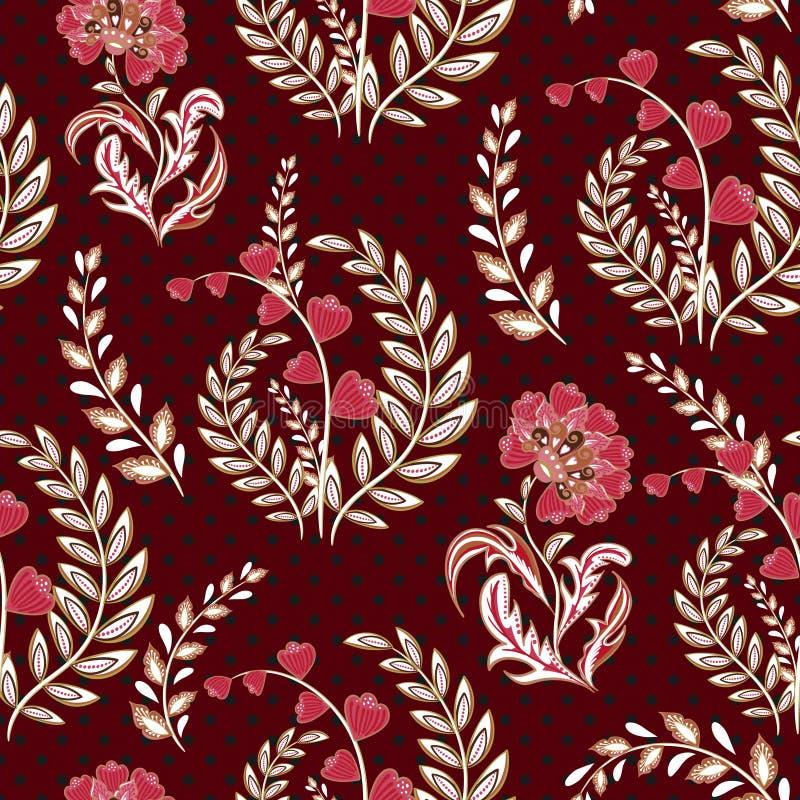 Free Seamless Wallpaper Vintage Flower Pattern On Dot Background Stock Photo - 91365690