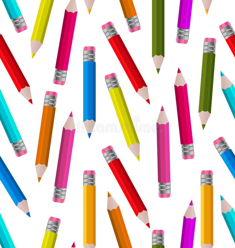 Free Seamless Wallpaper With Colorful Pencils Royalty Free Stock Photos - 55266898