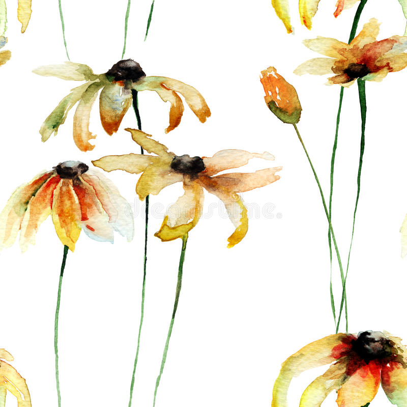 Seamless wallpaper with Yellow Gerber flowers stock illustration