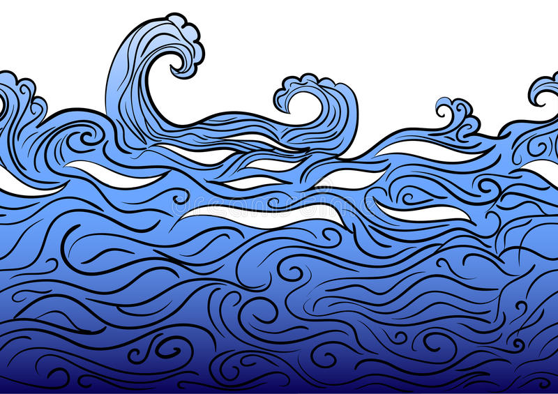 Seamless water border royalty free illustration