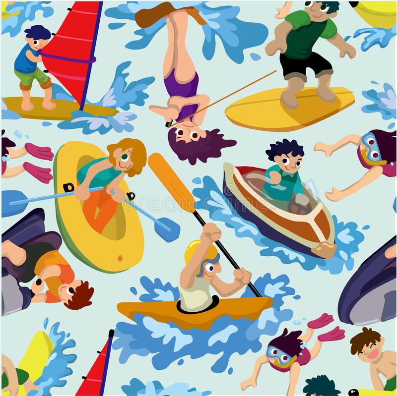 Download Seamless Water Sport Pattern Stock Vector - Illustration of inflatable, kayaking: 18870507