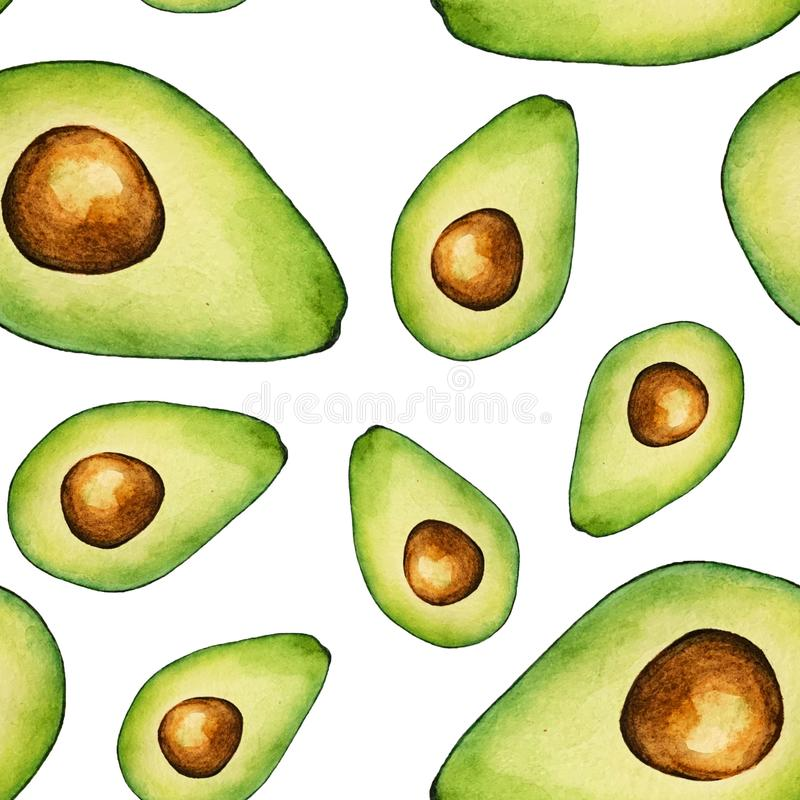Seamless watercolor avocado pattern on white background royalty free illustration