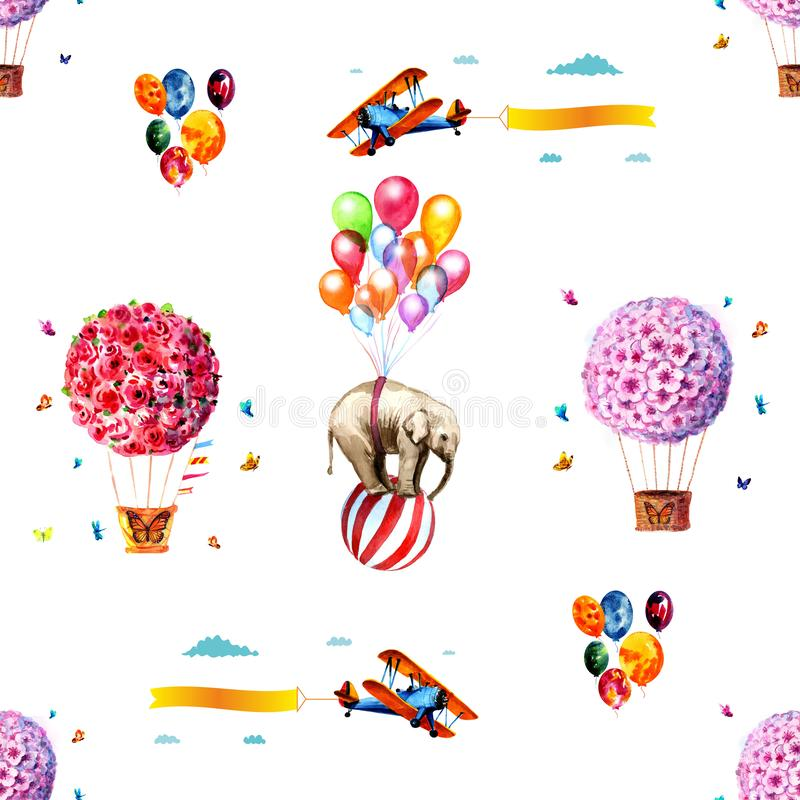 Seamless background with balloons. Isolated items. Seamless watercolor background with balloons, airplanes, butterflies and elephants. Isolated items vector illustration