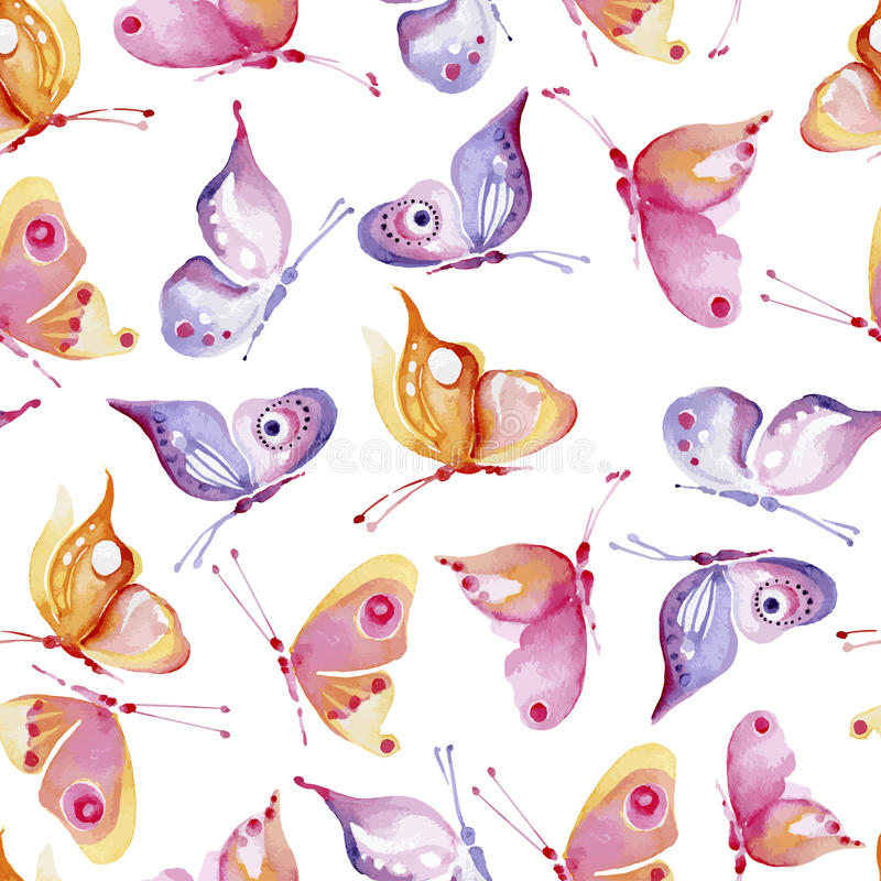 Seamless watercolor background consisting of butterflies of different colors, yellow and pink vector illustration