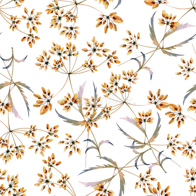 Seamless watercolor background consisting of dried flowers. Branches with thin leaves and berries stock illustration